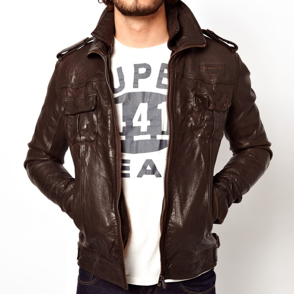 584fd6bf1 SuperDry Leather Ryan Bomber Jacket size S
